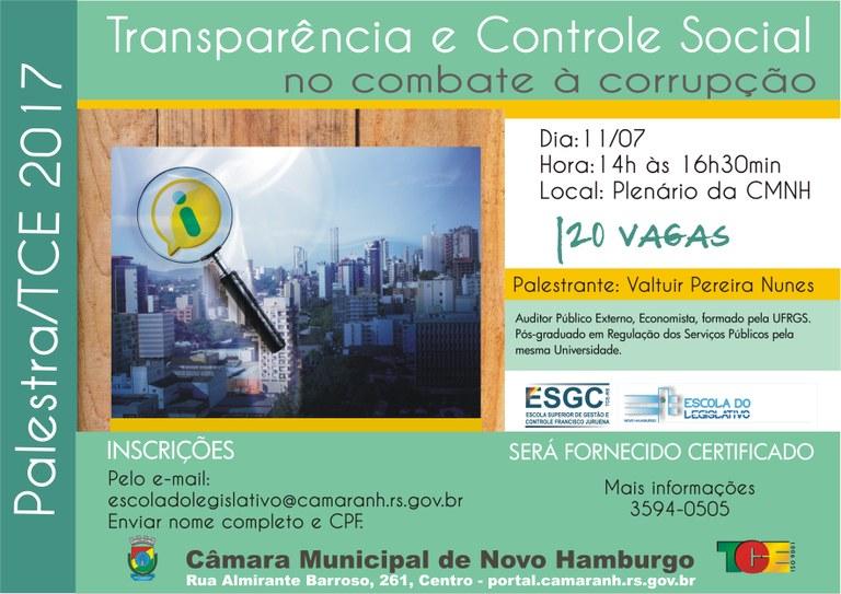 Palestra TCE controle social no combate à corrupção
