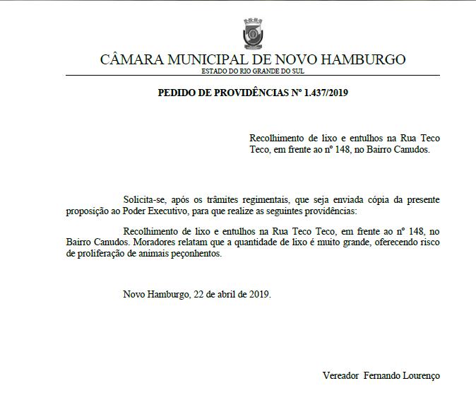 03/05/2019 - Fernando Lourenço requisita recolhimento de lixo e entulhos na rua Teco Teco em Canudos