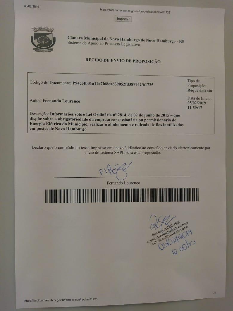 06/02/2019 - Fernando Lourenço solicita informações sobre fiscalização de fios caídos nos postes do município