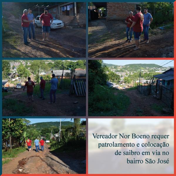 06/12/2019 - Vereador Nor Boeno requer patrolamento e colocação de saibro em via no bairro São José