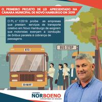 08/02/2019 - Vereador Nor Boeno apresenta projeto que proíbe empresas de exigirem que motoristas do transporte coletivo exerçam função dupla