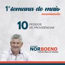 09/05/2019 - Nor Boeno encaminha dez pedidos de providências à Prefeitura