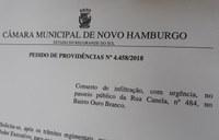 11/09/2018 - Nor Boeno pede conserto de infiltração em calçada no bairro Ouro Branco