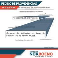 13/08/2019 - Conserto de infiltração no beco do Faustão é demanda do vereador Nor Boeno