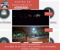 13/08/2019 - Praça Harmonia está com iluminação após pedido de providências do vereador Inspetor Luz