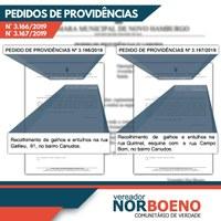 14/08/2019 - Nor Boeno solicita recolhimento de galhos e entulhos em dois terrenos de Canudos