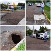15/10/2018 - Nor Boeno solicita conserto de infiltração e recomposição asfáltica em frente a escola no bairro Jardim Mauá