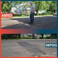 22/01/2019 - Vereador Nor Boeno tem pedido de conserto de asfalto atendido em frente a comércio no bairro Canudos