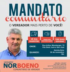 22/11/2018 - Vereador Nor Boeno realiza penúltima ação do Mandato Comunitário no bairro São José