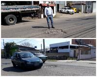 23/08/2018 - Vereador Nor Boeno pede operação tapa-buraco para rua próxima à divisa entre Novo Hamburgo e São Leopoldo