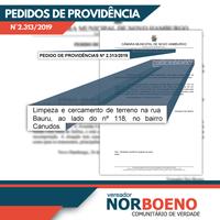 24/06/2019 - Nor Boeno solicita limpeza e cercamento de terreno na rua Bauru