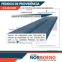 26/06/2019 - Nor Boeno requer estudo de viabilidade para redutor de velocidade em cruzamento no bairro Canudos