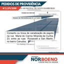 26/06/2019 - Nor Boeno solicita reparo de canalização de esgoto em Canudos