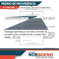 31/05/2019 - Vereador Nor Boeno solicita operação tapa-buracos para avenida do bairro Boa Saúde