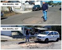 17/08/2018 - Vereador Nor Boeno pede operação tapa-buraco para rua, no bairro Canudos